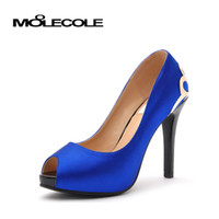 High Heel toe shoes - MOOLECOLE Blue Wine Red Peep Toes Wedding Shoes Womens Hotsale High Heels Fashion Ladies Simple Pumps Platform High Heeled Shoe
