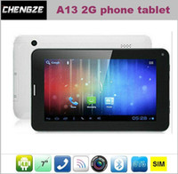 Wholesale 7 Inch A13 Allwinner Tablet PC Android G SIM phone Call capacitive touch screen Dual Camera MB GB