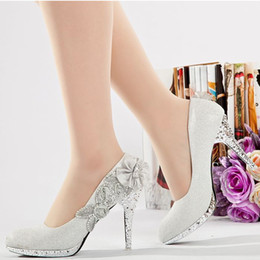 Hot Glitter Silver 10cm Bridal High Heels Shoes Wedding Bridesmaid Shoes Party Shoe Size 35-39 Free Shipping