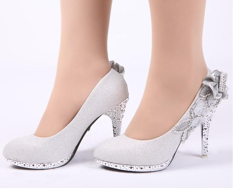 New Glitter Silver Bridal High Heels Shoes Wedding Bridal