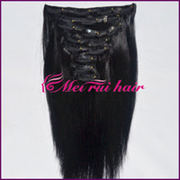 Wholesale 10inch inch clips in hair extension yaki hair set one full head