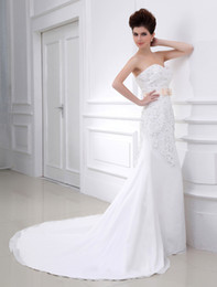 Wholesale White Sheath Sweetheart Strapless Beading Lace Wedding Dress For Bride dresses u5 ZiE