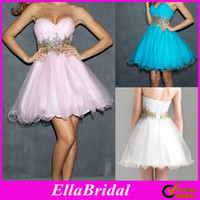 Wholesale Classic Cocktail Prom Dresses Pink Blue White Tulle Beaded Short Sweetheart Strapless Empire Evening Party Gown Homecoming Gowns Ella1001