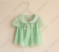 chiffon baby clothes uppers - summer children chiffon shirts little lapel Short sleeve Baby unlined upper garment girls T shirts kids clothes colour size