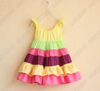 america skirt - summer girls dresses Europe and America fair maiden model stripe Fly sleeve rainbow kids dress children skirt colour size