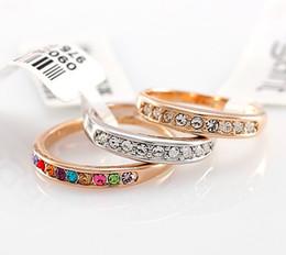 Jewelry Rings Swarovski Crystal 18 K gold-plated CZdiamond ring Simulated Diamond Wedding Ring case