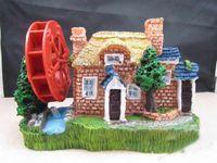 Wholesale Medium large size aquarium watertruck windmill aquarium fish tank house decoration resin craft T9357