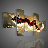 More Panel Oil Painting Abstract Hand-painted Hi-Q modern wall art home decorative abstract woman figure oi painting on canvas Starry passion sexy nude girl 5pcs set framed