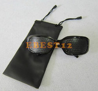 Wholesale 100pcs Eyes Exercise Black Pinhole Glasses Vision Eyesight Improve health care glasses Glasses bags Pouchs
