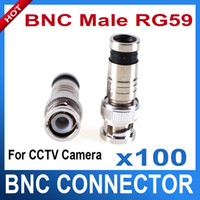 Wholesale 100PC BNC Male Compression Coax RG59 CCTV Cable BNC Connectors