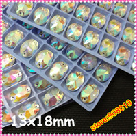 Wholesale 120pcs x18mm Oval Flatback Sew on stone crystal AB color sew on crystal rhinestone button beads fr