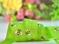 Wholesale Buzzy Bumble Bees printed Grosgrain Ribbon inch inch rose green yard mm mm eone