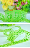 Wholesale 1 quot inch mm floret printed green Nylon Organza Ribbon yards eone