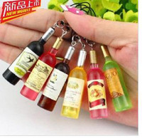 Wholesale Mini fashion bottle wine mobile phone chain mobile phones pendant chain simulation object hanging ornaments accessories