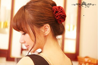 Wholesale 2013 New Coming Silk Flower Hair Clips Noble Elegant Wine Red Rose Claw Hair Accessories