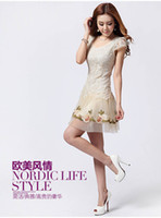 Wholesale New Fashion Lady Sweet Lace Floral Dress Vivi Chiffon Dress Ruffled Mesh Skirt Spring Summer Casual Dresses PS