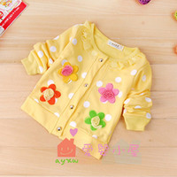 Wholesale Girls Baby Sweet Flower Knitting Coats New Spring Autumn Children Long Sleeve Cardigan Pretty Baby Clothing Kids Flower Clothes