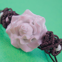 ceramic beads flower - Wood beads Classical Chinese ceramic art bauhinia flower shamballa wrap belts rope ceramic bracelets