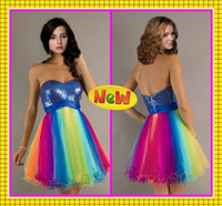 A-Line affordable prom gowns - 2016 Custom Made Affordable Colorful Rainbow Tulle Short A Line Girls Ceremony Party Gowns Sweetheart Sequin Graduation Prom Dresses
