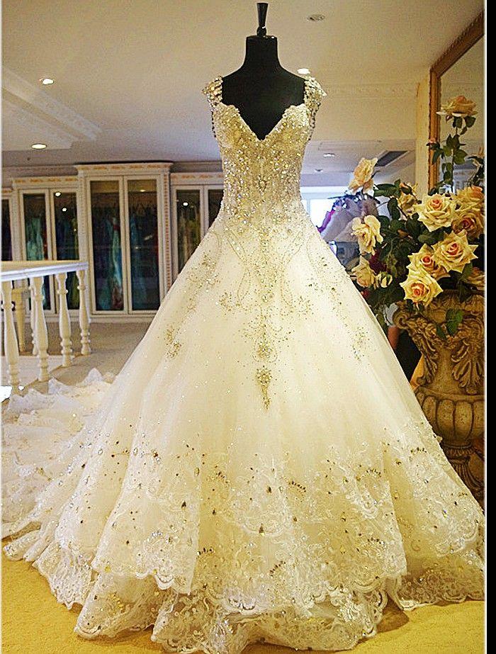 Princess Wedding Dress Big : Empire princess wedding dresses with big train chapel gowns