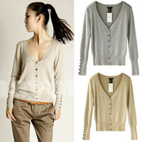Wholesale New Womens Ladies Long Sleeve V Neck Casual Jumper Knitwear Cardigan sweaters Jumper Knitwear