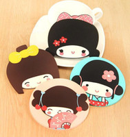 Wholesale high quality lovely Cartoon Silica Gel Insulation Mat Placemat Coasters cup mat