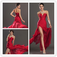 Wholesale In Stock Sexy Red V Neck Evening Dresses Sweetherat Backless Pleats Beaded Chiffon pageant dress party gown prom dress
