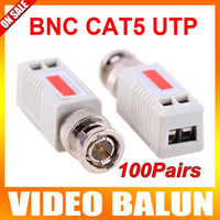 Wholesale 100Pairs Mini CCTV Pair BNC Vedio Balun Passive Transmitter Gray