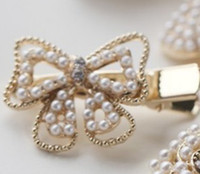 Wholesale Korea cute little bow flowers pearl diamond hairpin hair accessories