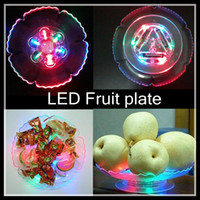 Wholesale LED Fruit Tray LED light PS Fruit bowl LED colorful plastic disc tableware bowl drop ship Fruit plate for Bar Party or home Decorations