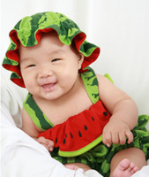 12-18 Months Girl Summer New arrival Toddler baby's watermelon rompers infants character clothes cute kids summer cotton wear newborn's romper with hat 2pcs set
