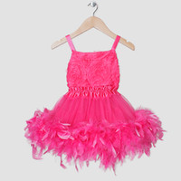 Wholesale Fashion baby Girls pettiskirt dress princess children tutu dress Hot Pink Rose top with feather Lace party dress summer Kids dancing clothes