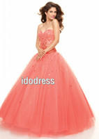 Wholesale Hot Sale Organza Quinceanera Dresses Ball Gown Sweetheart bandage Floor Length Sequin Ruffle Beads MK08L69
