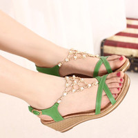 Wholesale Summer women Rome style rhinestones fish mouths wedge heels women shoes sandal dt54