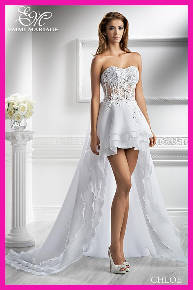 Beach Wedding Dresses Short In Front Long In Back : Discount beach short front long back lace organza