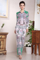 Polyester Long Sleeve Capris FLOWER Printed blouse + Pants Catwalk Fashion Suits 2013 Mulberry Dress Hot Women's Vintage Sexy jumpsuit