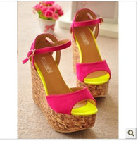 Wholesale High heeled shoes wedges sandals open toe neon color sandals platform shoes