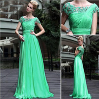 Wholesale Beautiful Charming Green A line Lace Formal Evening Dresses Cap Sleeves Pleats Beads Long Party Gowns Floor length Green wedding dress