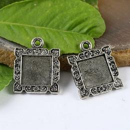 25pcs Tibetan silver floral rim picture frame charm H1179
