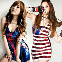 union jack dress - Fashion Sexy Sequined Straps Dress V neck Union Jack Night Games Bar Singer Stage Dresses