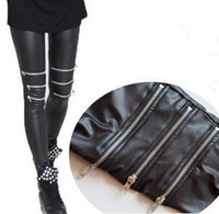 Wholesale 50pcs Free dhl fedex Sexy Imitation leather knee three silver zipper splicing jeggings Tights Pants