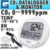 Wholesale CO98 Digital in1 CO2 Carbon Dioxide Desktop Datalogger Monitor Indoor Air Quality Temperature Relative Humidity RH ppm Clock