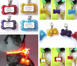 Mix order available LED pet name id tag custom dog tag cute bone shape Red, Yellow, Blue,Orange,Green #9359