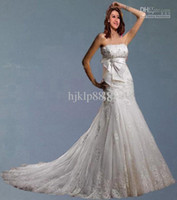 Wholesale Beautiful Wedding Dress Tulle Strapless Straight Neckline Lace Empire Bow Beaded Mermaid Bridal Gown