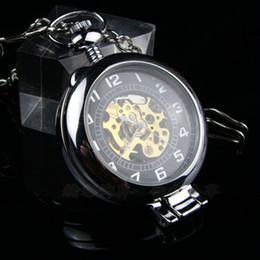 Wholesale 6pcs Unique Steampunk Magnifying Glass Transparent Skeleton Pocket Watch Bronze Silver Black Platform Men Mechanical Clock Fob Watches Chain
