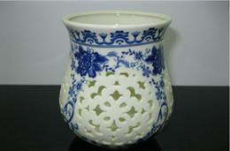 Wholesale Solar Garden Lights Lamp Ceramic Blue and White Porcelain Household Garden Decorations Colorful Light Lighting