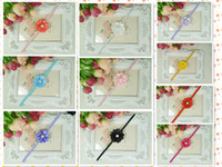Wholesale Baby satin ribbon flower headbands DIY layered flower with Pearl on skinny elastic Headband