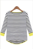 Wholesale 2013 Spring Latest Style Female Korean Top T Shirt Navy Stripe Swallowtail Long sleeves Tee PS