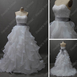 Real Images 2017 A-Line Organza Wedding Dresses Sweetheart Sleeveless Beading Sash Ruffled Tiered Skirt Bridal Gown