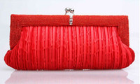 Wholesale New beading elegant pleated handbag cross body evening bag women party